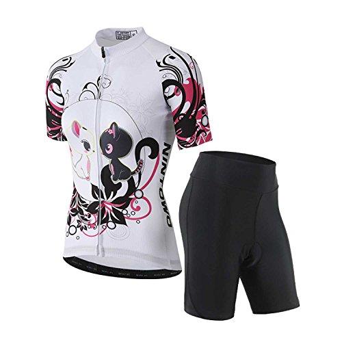 TeyxoCo 2018 Women Chic Cat Design Cycling Jersey Short Sleeve Padded Jersey Set S - Cycling Jersey Coors