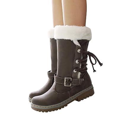MYMYG Damen Stiefel Mode Winterstiefel Walkingschuhe Quaste