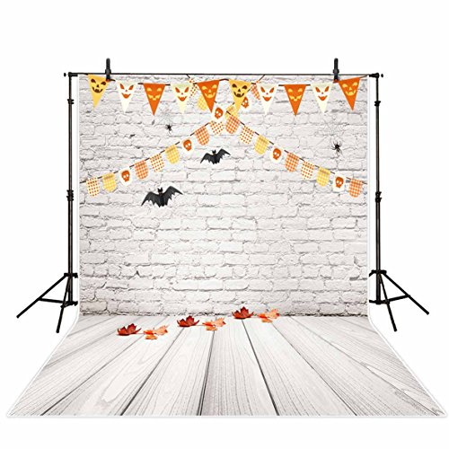 (Funnytree Photography Background 5X7ft Polyester Halloween White Brick Wall Wooden Floor Backdrop Collapsible and Washable Studio Photo Props for Photography(Upgrade)