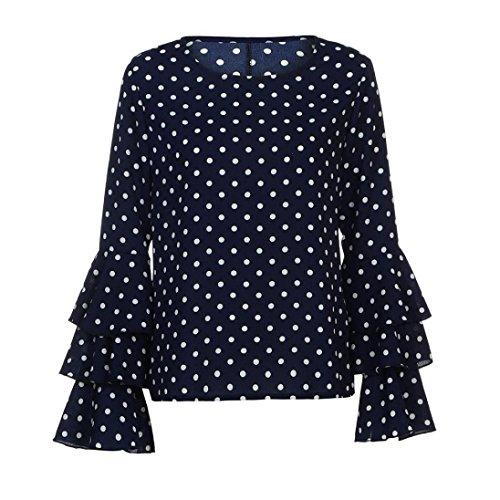 Delle Della Supera Donne Di Camicia Modo Manica Nera Blu Allentata A Casuale Campana Ashop Camicetta Pois xIawq86T