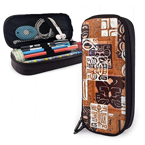 Pencil Case Tahitian Tikis 4B Big Capacity Leather Durable Students Stationery Pen Bag with Double Zipper Pen Holder for School/Office