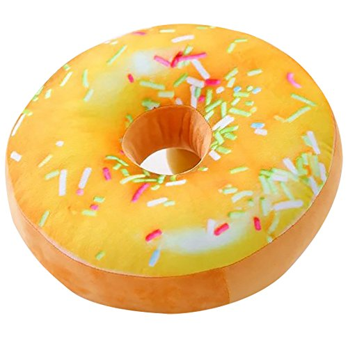 ChezMax Round Doughnut Donut Seat Back Stuffed Cushion Insert Filler Filling Throw Pillow Plush Play Toy Doll For Staycation Sofa Watching TV In-bed Reading Mango Muffin 16 X 16'' (Doll China Pillow)