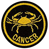 Cancer Zodiac Horoscope embroidered Patch (Black/Gold) 5cm Dia by Klicnow