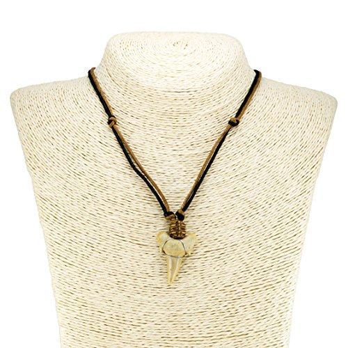 Shark Tooth Pendant on Black and Brown Cord Necklace (2S) ()