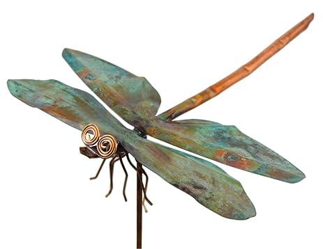 Copper Dragonfly Garden Sculpture U0026 Stake
