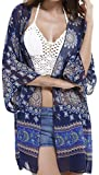 Aixy Women's Vintage Sexy See-Through Chiffon Beachwear Cover-UPS Kimono Beach Dresse Cardigan