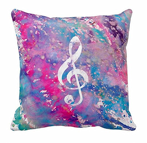 Treble Clef Paint - Pink Blue Watercolor Paint Music Note Treble Clef Pillowcase 18*18
