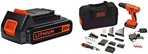 BLACK+DECKER LBXR20 20-Volt MAX Extended Run Time Lithium-Ion Cordless To with BLACK+DECKER BDC120VA100 Cordless Project Kit with 100 Accessories