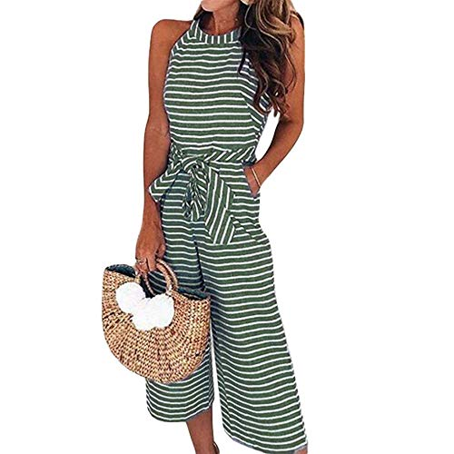 (Puedo 2019 Women\'s Striped Sleeveless Waist Belted Zipper Back Wide Leg Loose Jumpsuit Romper with Pockets (Green,S))