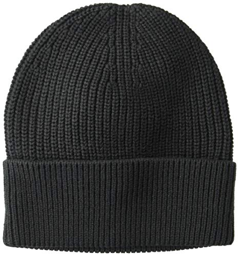 Goodthreads Men's Soft Cotton Washed Beanie, Solid Black, one Size