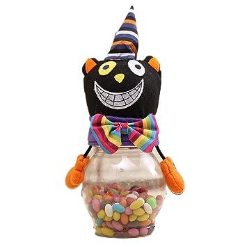Runfon de decoración de Halloween Niños Transparentes Latas Caramelo los Gatos Negros de Regalo 1 Paquete de Vacaciones, decoración: Amazon.es: Hogar