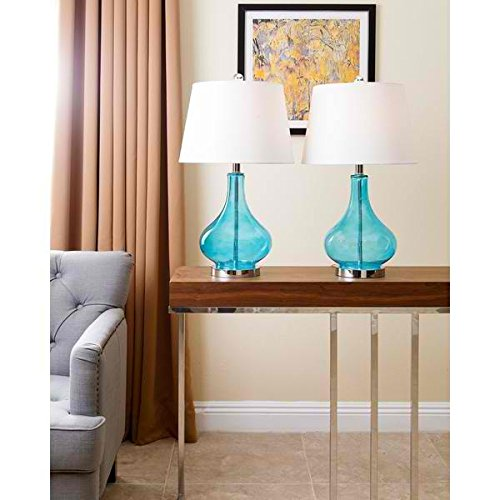Table Lamp / Desk Lamp, Contemporary Luciana Turquoise Glass Table Lamp SP-3087-NAVY-2PCK, Set of 2