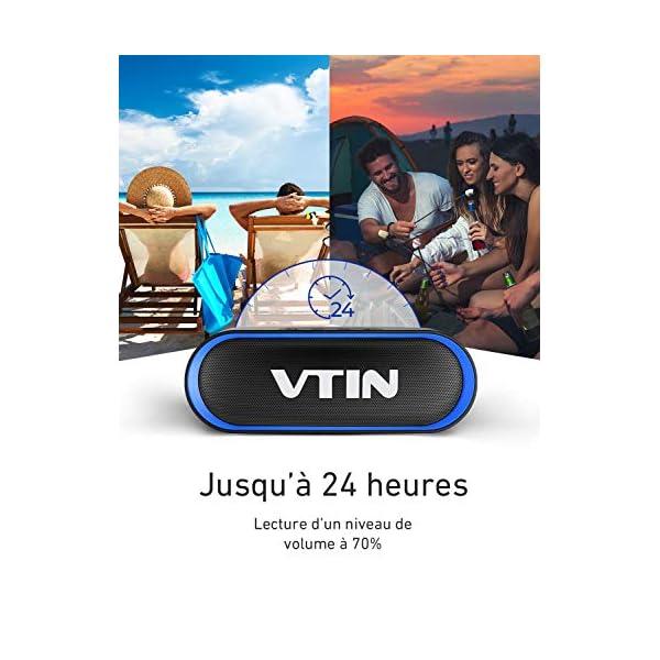 Enceinte Portable Bluetooth 5.0, VTIN R4 Haut Parleur Bluetooth 12W, Enciente Waterproof, 24H de Lecture, avec Microphone, Support AUX/TF, pour Téléphone Portable, Tablette, Soirée, Voyage 4