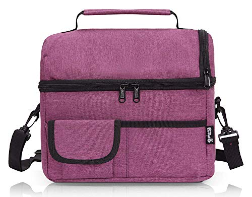 PuTwo Lunch Bag Insulated Large Capacity with YKK Zip Adjustable Shoulder Strap Lunch Bag - Dark Purple