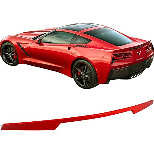 Pre-painted Trunk Spoiler Fits 2014-2018 Chevy Corvette | Factory Style ABS Painted Torch Red #WA9075 Trunk Boot Lip Spoiler Wing Deck Lid Other Color Available By IKON MOTORSPORTS | 2015 2016