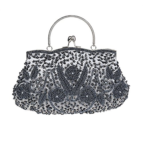 Albabara Satin Beaded Handmade Clutch Purse Evening Handbags,Grey
