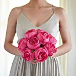 Butterfly-Craze-Artificial-Peony-Silk-Flower-Bouquet-for-Wedding-Floral-Arrangements-and-Home-Decoration-Fushia-Red-Color-5-Stem-Per-Set