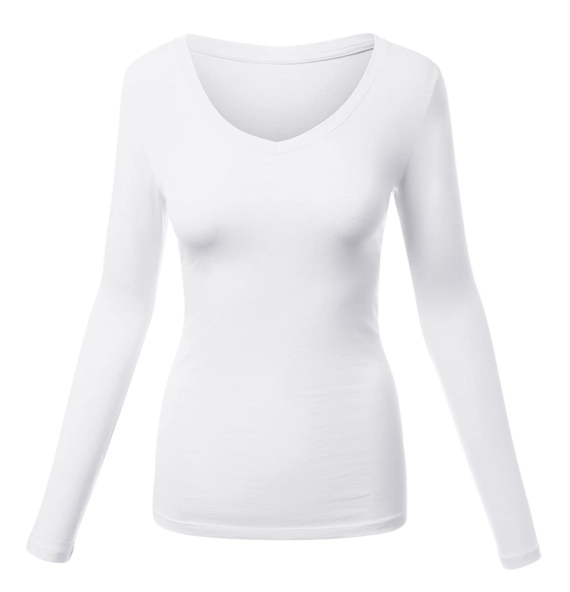Meilleur Mode Womens Basic Long Sleeve V Neck Tee Everyday Casual Shirts