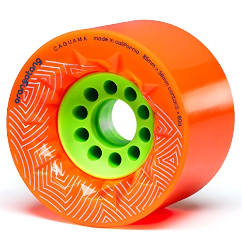 Orangatang Caguama 85 mm 80a Downhill Longboard Skateboard Cruising Wheels (Orange, Set of 4)