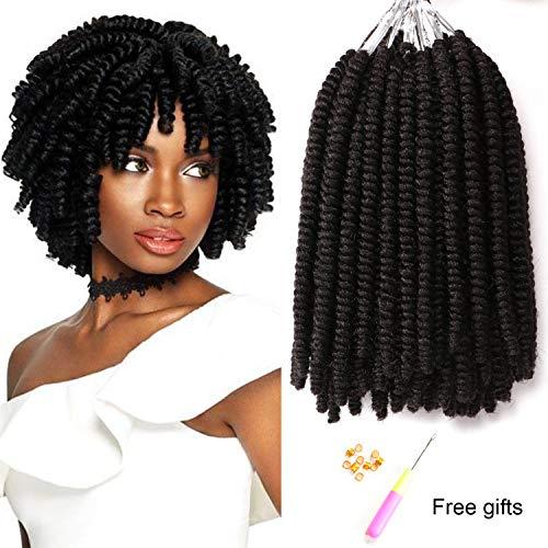 7 Packs 8 Inch Short Small Havana Mambo Twist Crochet Braids Synthetic Spring Twist Hair Extension Afro Kinky Curly Crochet Hair (1B#) (Best Kinky Twist Hair)