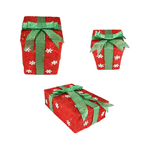 Set of 3 Red Snowflake Sisal Gift Boxes Lighted Christmas Outdoor Decorations by Northlight