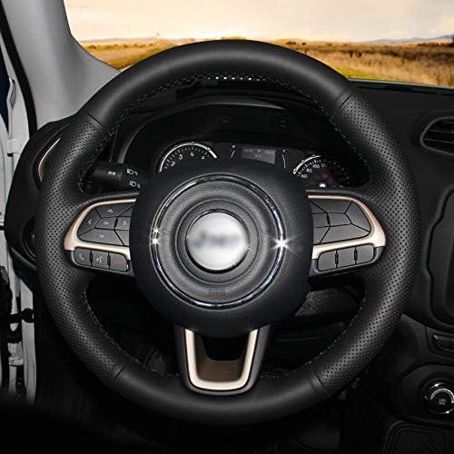 HCDSWSN Coprivolante per Automobile in Pelle Sintetica Nera per Jeep Compass 2017 Renegade 2016 2017