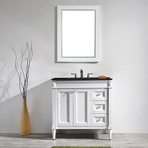 vinnova 715036 wh bk catania 36 vanity in white with black galaxy granite countertop with mirror amazoncom - Bathroom Cabinets Kzn