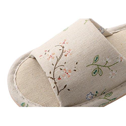 Caro Tempo Pantofole Di Cotone Di Lino Casa Delle Donne Spuma Suola Accogliente Scarpe Scivolo Rami