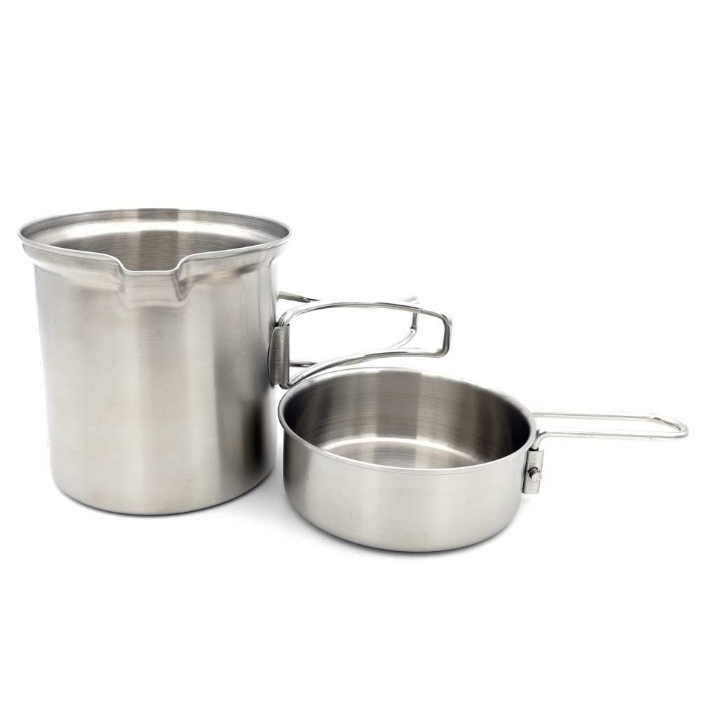 Onewell Juego de Utensilios de Cocina para Acampar al Aire Libre Estufa de le/ña Juego de ollas de Acero Inoxidable Utensilios de Cocina Plegables para mochileros Pesca