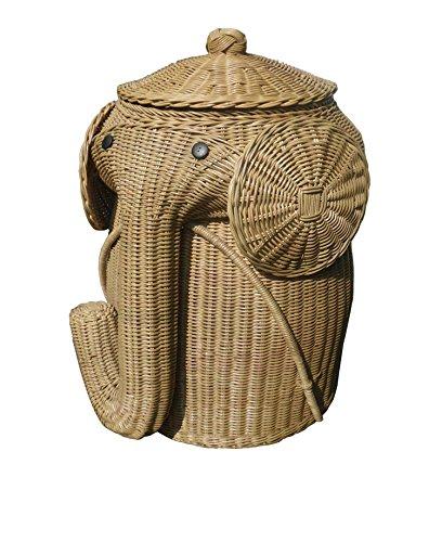 D-ART Elephant Wicker Laundry Hamper