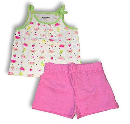WonderKids Girls Watermelon, Strawberry & Pineapple Tank & Knit Shorts Set (Summer Tank Top w/Pink Knit Shorts, 12M)