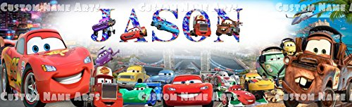 Personalized Disney Pixar Cars Banner Birthday Poster Custom Name Painting Wall Art Decor