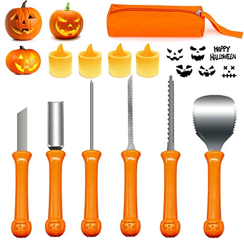 Halloween Pumpkin Carving Kit, Professional Pumpkin Carving Tools Set with Carrying Case and 4 LED candles, Heavy Duty Stainless Steel Carving Tools, Sturdy Sculpting Jack-O-Lantern Knife Set (11Pcs)