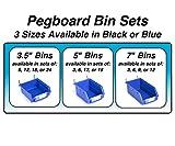 Pegboard Bins – 6 Pack Blue Extra Large - Hooks