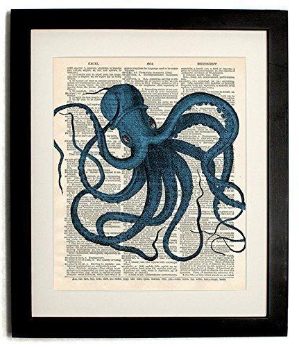 FRAMED octo Blue Upcycled Handmade Vintage Dictionary Art Print 8