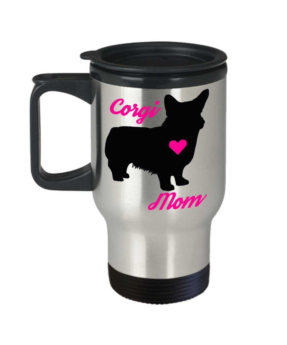 Corgi Mom Travel Mug - Insulated Portable Coffee Cup With Handle And Lid For Dog Lovers - Perfect Christmas Gift Idea For Women - Novelty Animal Lover Quote Statement Accessories