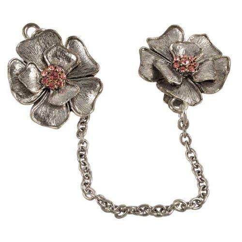 Brushed Metal Flower Tallis Clip - Pink Crystal Stones