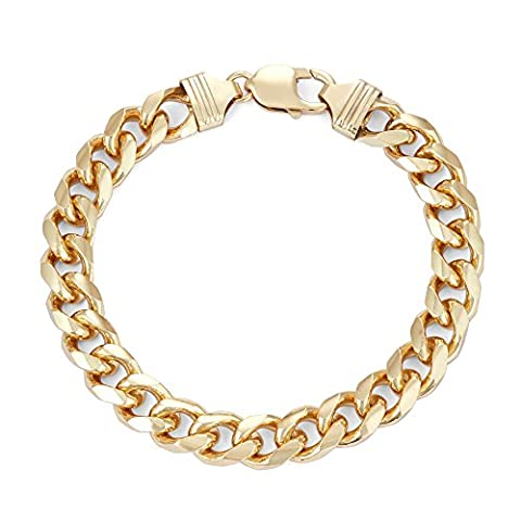 18k Gold Over Sterling Silver 9.7mm Square Curb Chain Bracelet 9