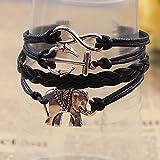 ZEGOO Anchor Elephant Black Leather Braided