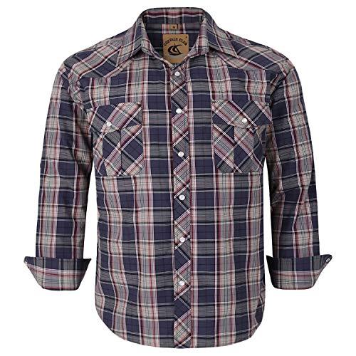 Coevals Club Men's Button Down Plaid Long Sleeve Work Casual Shirt (Gray Plaid #26, -