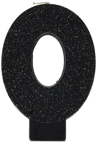 Amscan Birthday Celebration, Numeral #0 Glitter Candle, Party Supplies, Black, 3 1/4