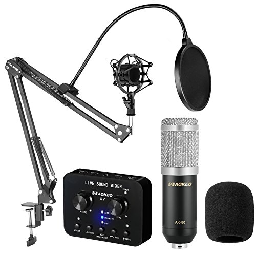 Aokeo AK-80 Professional Studio Live Stream Broadcasting Recording Condenser Microphone with AK-35 Suspension Scissor Arm Stand, Shock Mount, Pop Filter, X7 Live Sound Mixer and Mounting Clamp (Best Setup For Twitch)