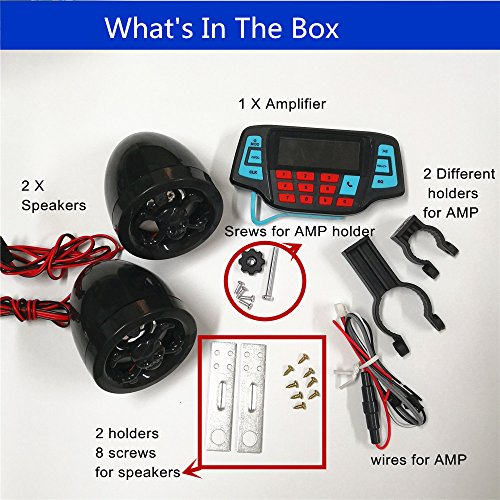 (UTV ATV Bluetooth Amplifier Sound System Hand-free Speakers FM USB Audio System Stereo 2.5 Inch Speakers 12V Motorcycle Waterproof Audio FM Radio Stereo Speaker For iPhone/iPod/MP3 Skull)