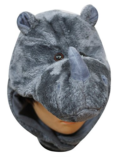 [Grey Rhinoceros Animal Hat Costume Unisex Children Adult for Halloween Party] (Unisex Halloween Costumes)