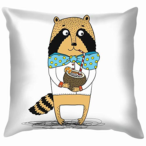 Raccoon Shirt Turquoise Bow Drink Coconut Animals Wildlife Animal Food and Pillow Case Throw Pillow Cover Square Cushion Cover 22X22 Inch ()