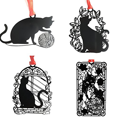 A Cat Bookmark With Red Ribbon