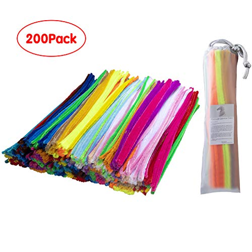 Colored Pipe Cleaners - YooMa 200 Pcs Assorted Colors Chenille Stems Pipe Cleaners 6 mm x 12 Inch for Kids DIY Art Supplies in School