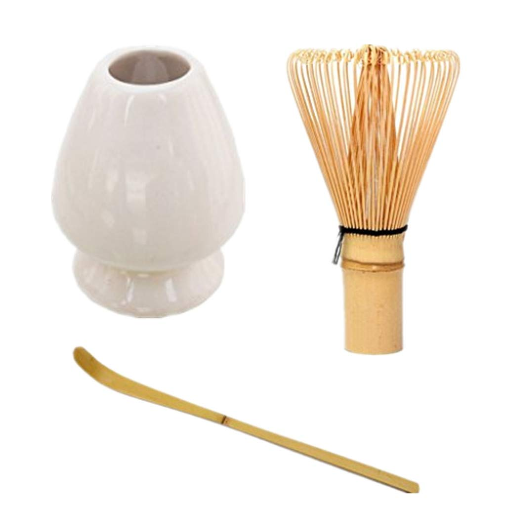 Matcha Tea Whisk Set Bamboo Whisk + Bamboo Scoop + Ceramic Whisk Holder for for Traditional Japanese Tea Ceremony (Blue) shangmu