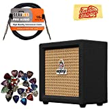 Orange Crush Mini Guitar Combo Amplifier - Black Bundle with Instrument Cable, Pick Sampler, and Austin Bazaar Polishing Cloth