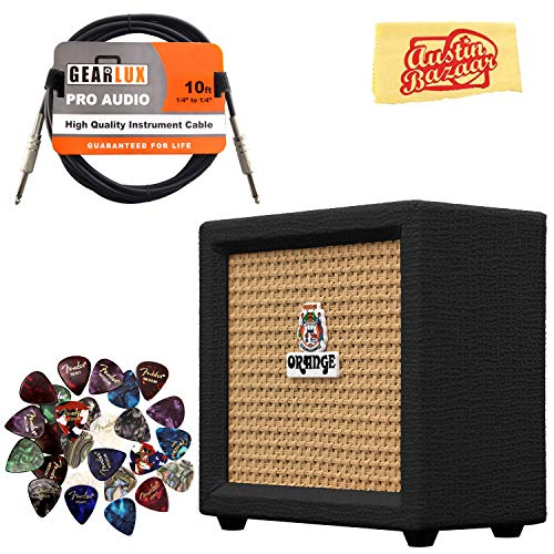 Orange Crush Mini Guitar Combo Amplifier - Black Bundle with Instrument Cable, Pick Sampler, and Austin Bazaar Polishing Cloth by Orange